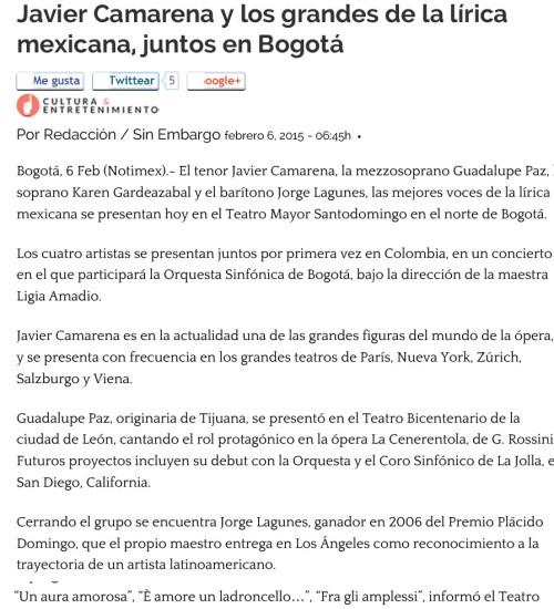 Press – Javier Camarena y los grandes de la lírica mexicana, juntos en Bogotá