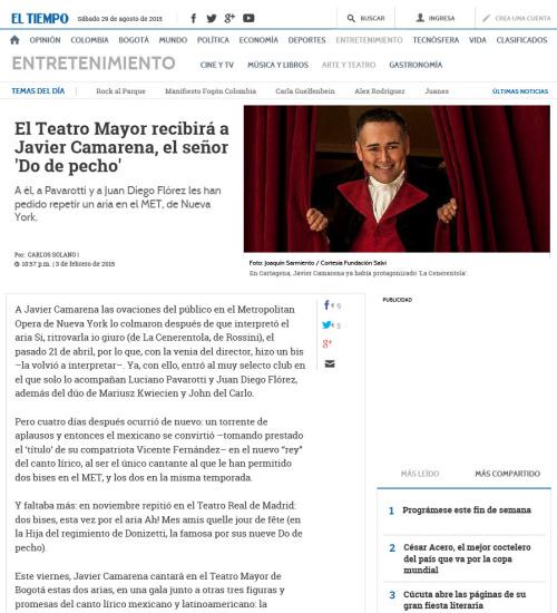 Press – El Tiempo: El Teatro Mayor recibirá a Javier Camarena, el señor 'Do de pecho'